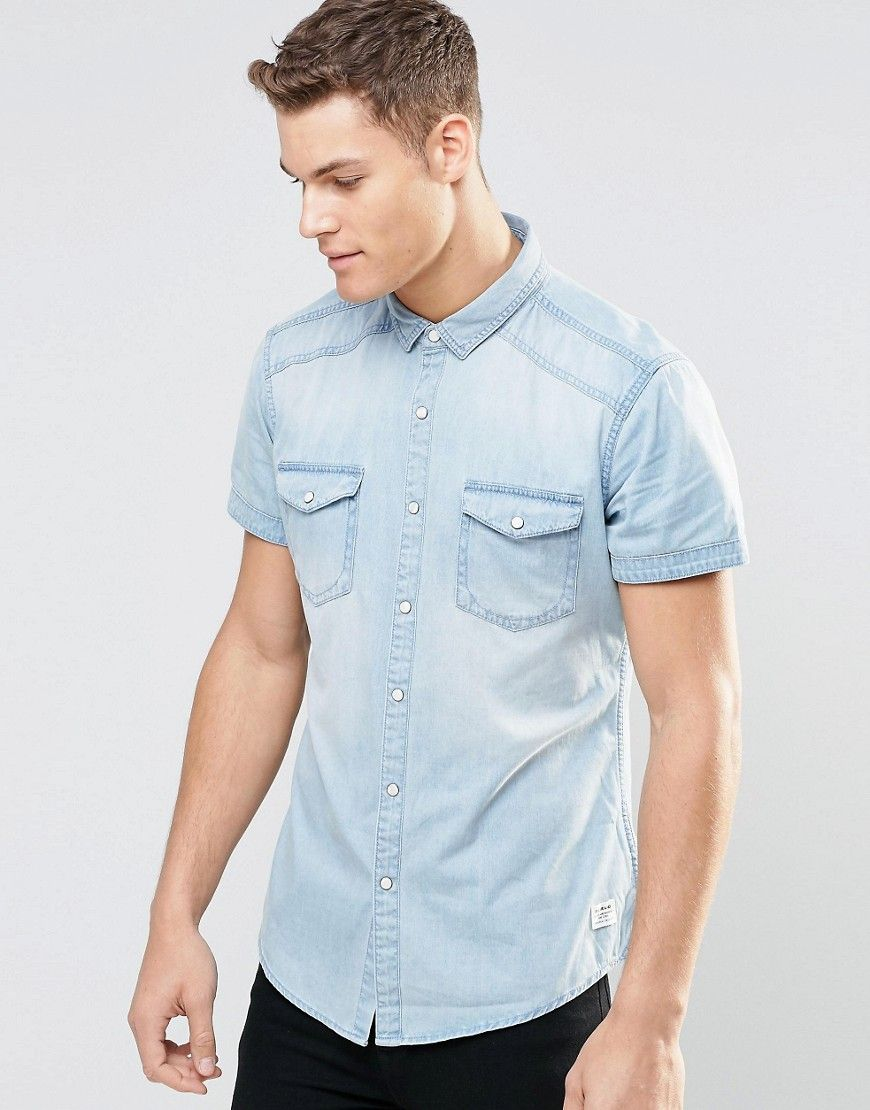 Image 1 of Esprit Short Sleeve Denim Shirt in Light Wash | Denim ...