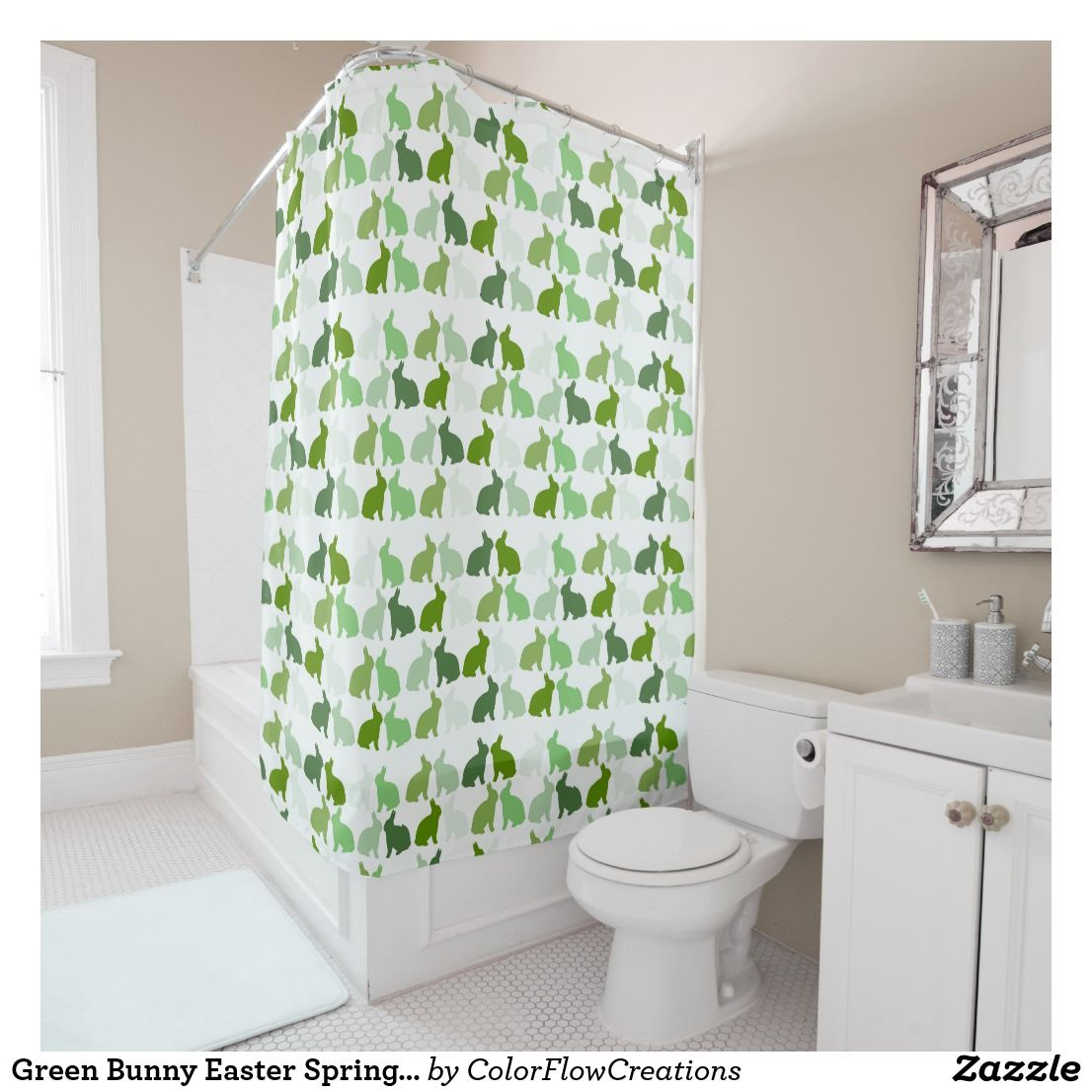 Green Bunny Easter Spring Bunnies Rabbit Shower Curtain