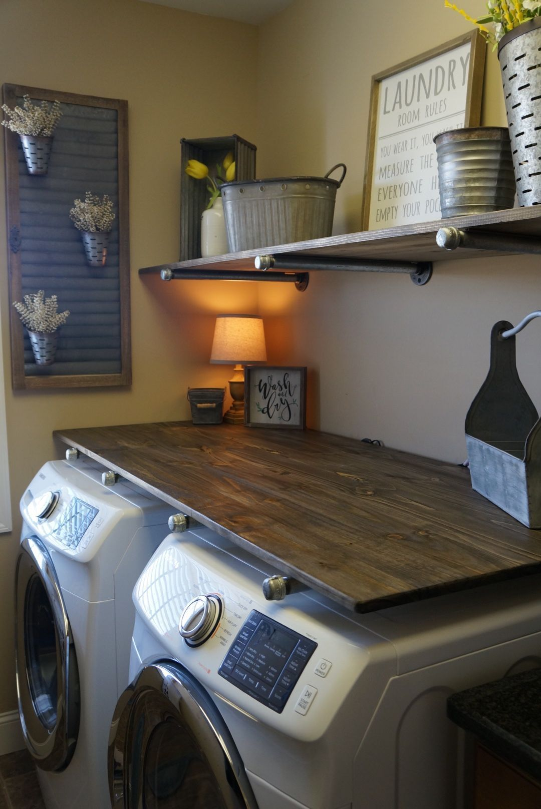 laundry room makevover for under 250 with diy rustic industrial