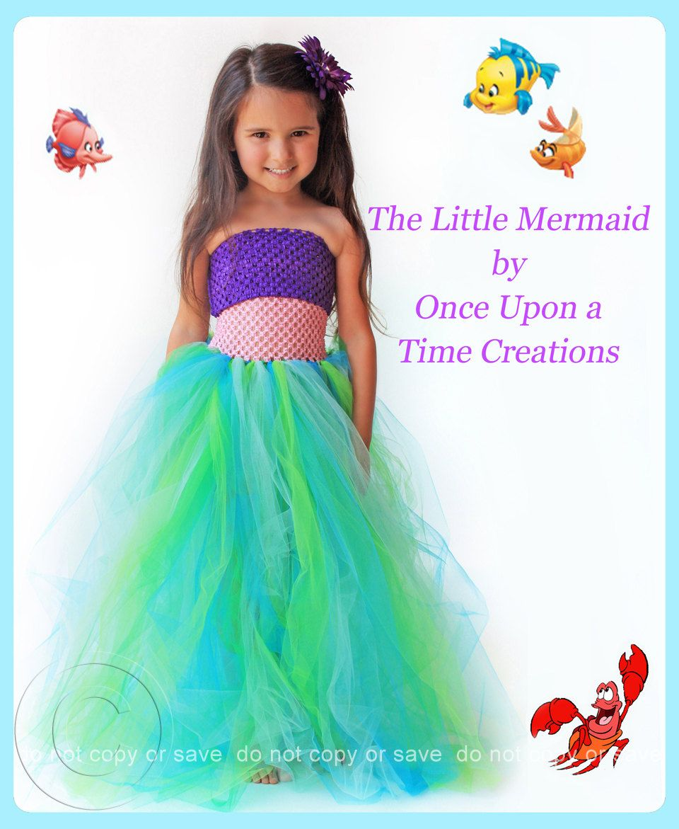 Cinderella Princess Character Dress Child 3t 4t 5 6 7: The Little Mermaid Inspired Princess Tutu Dress