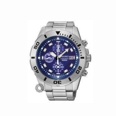 fe6c22c78a Ανδρικό σπορ ρολόι SEIKO quartz χρονογράφος με ατσάλινο μπρασελέ   μπλε  καντράν