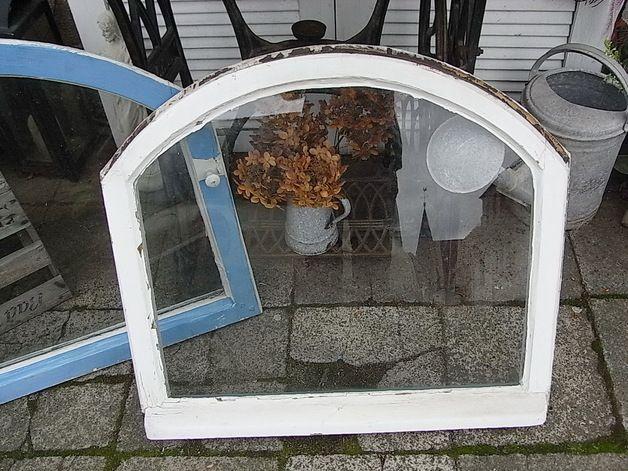 *1 Wunderschönes Antikes Holzfenster* Ein Flügel, Bogenfenster Ohne Rahmen,  Verglast. Echter Shabby Chic, Nutzbar Als Bilderrahmen / Spiegelrahmen...  Mit ...