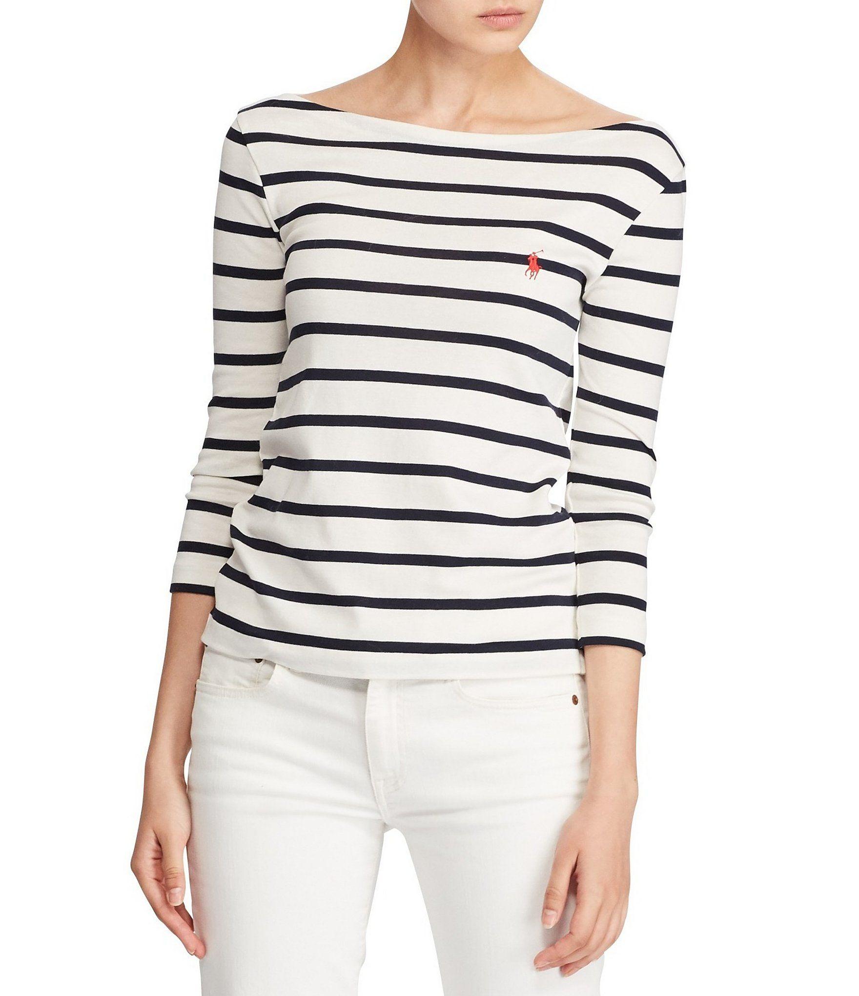 Polo Ralph Lauren Striped Cotton TShirt  Dillards   Sara - Deep ... c85b70cdb1