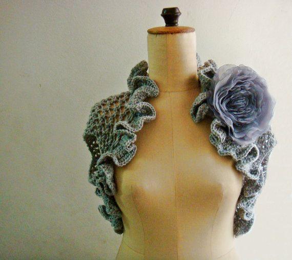 Pattern Lace Knit Shrug Bolero in 3 sizes with Chiffon Flower, 245 ...