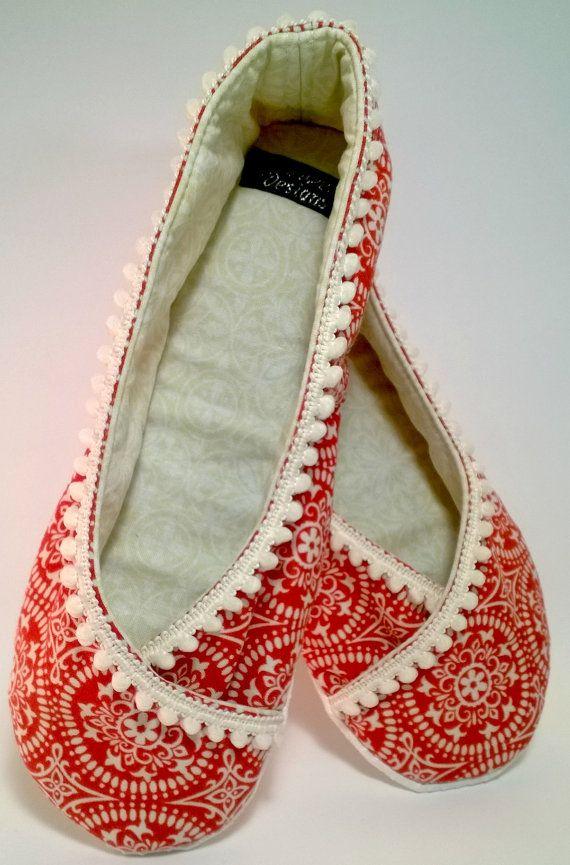 fabric slipper orange cream floral ballet flat slippers kimono