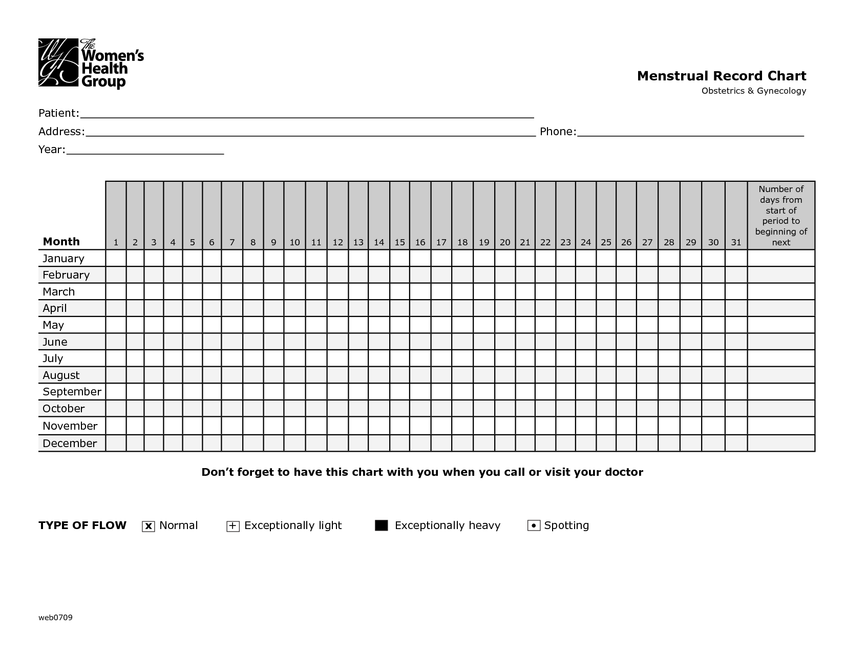 Menstrual Record Chart: I would like to make a huge version of ...