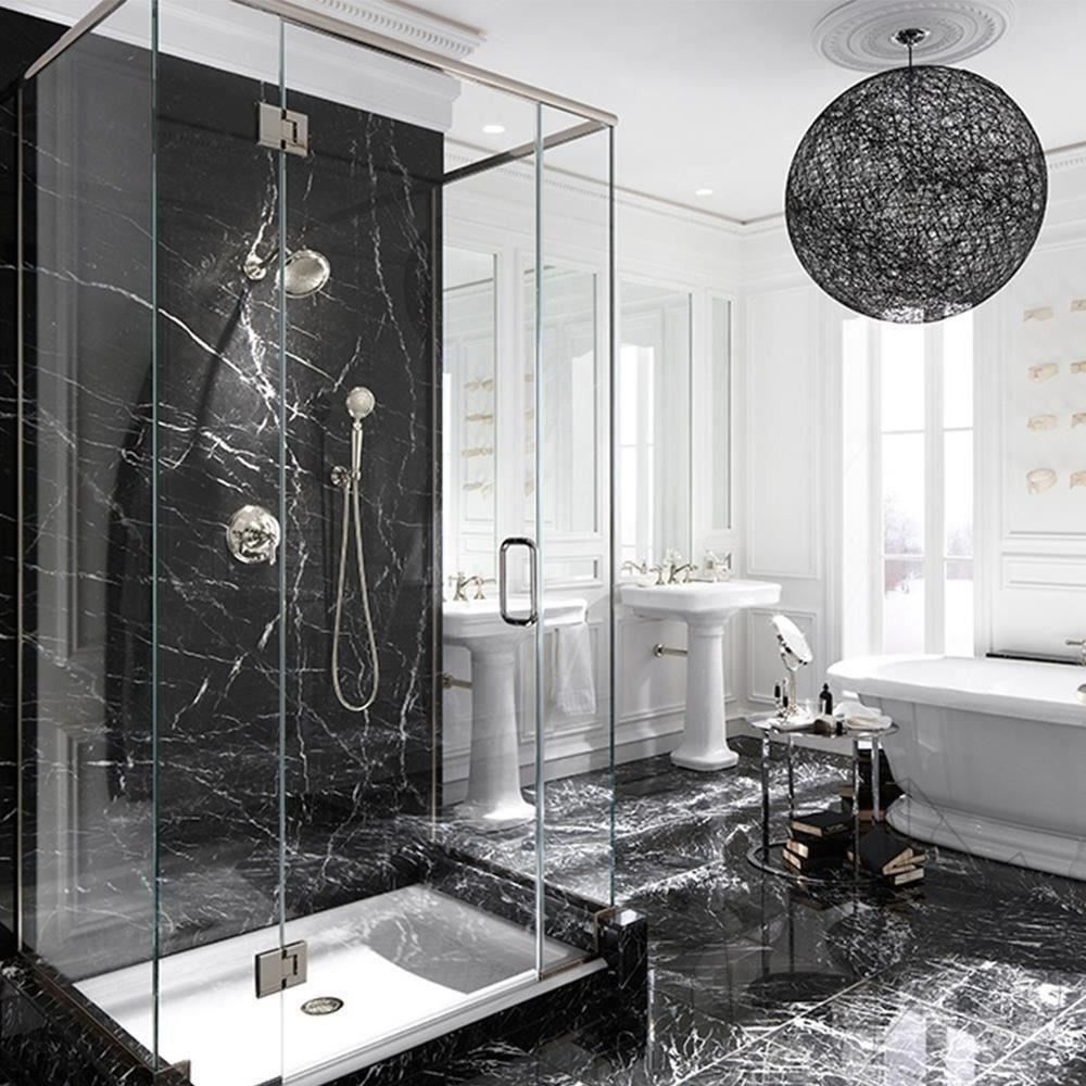 رخام اسود انواع الرخام رخام مستورد اسود اسباني حمامات رخام Luxury Bathroom Master Baths Black Marble Bathroom Bathroom Inspiration