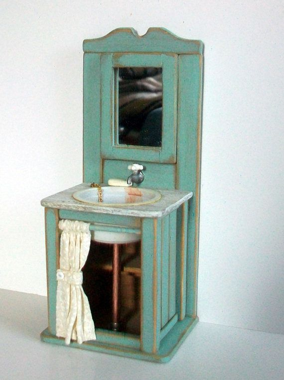 Miniature Shabby Aqua Sink (1 inch dollhouse scale)