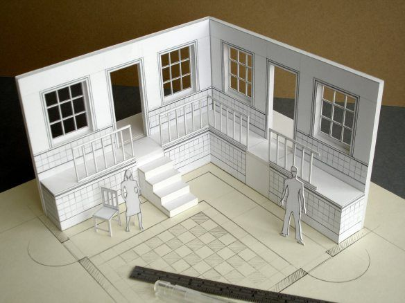 White Card Models For Film Tv Work Architecture Model Making Set Design Theatre Model Making