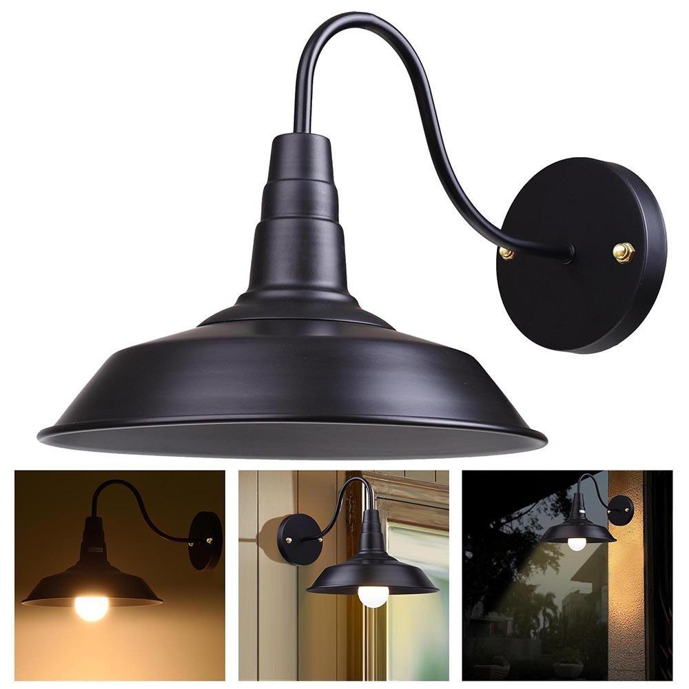 Industrial Barn Style Light Wall Lamp Black 10 In Wall Sconce Lighting Barn Lighting Black Wall Lamps
