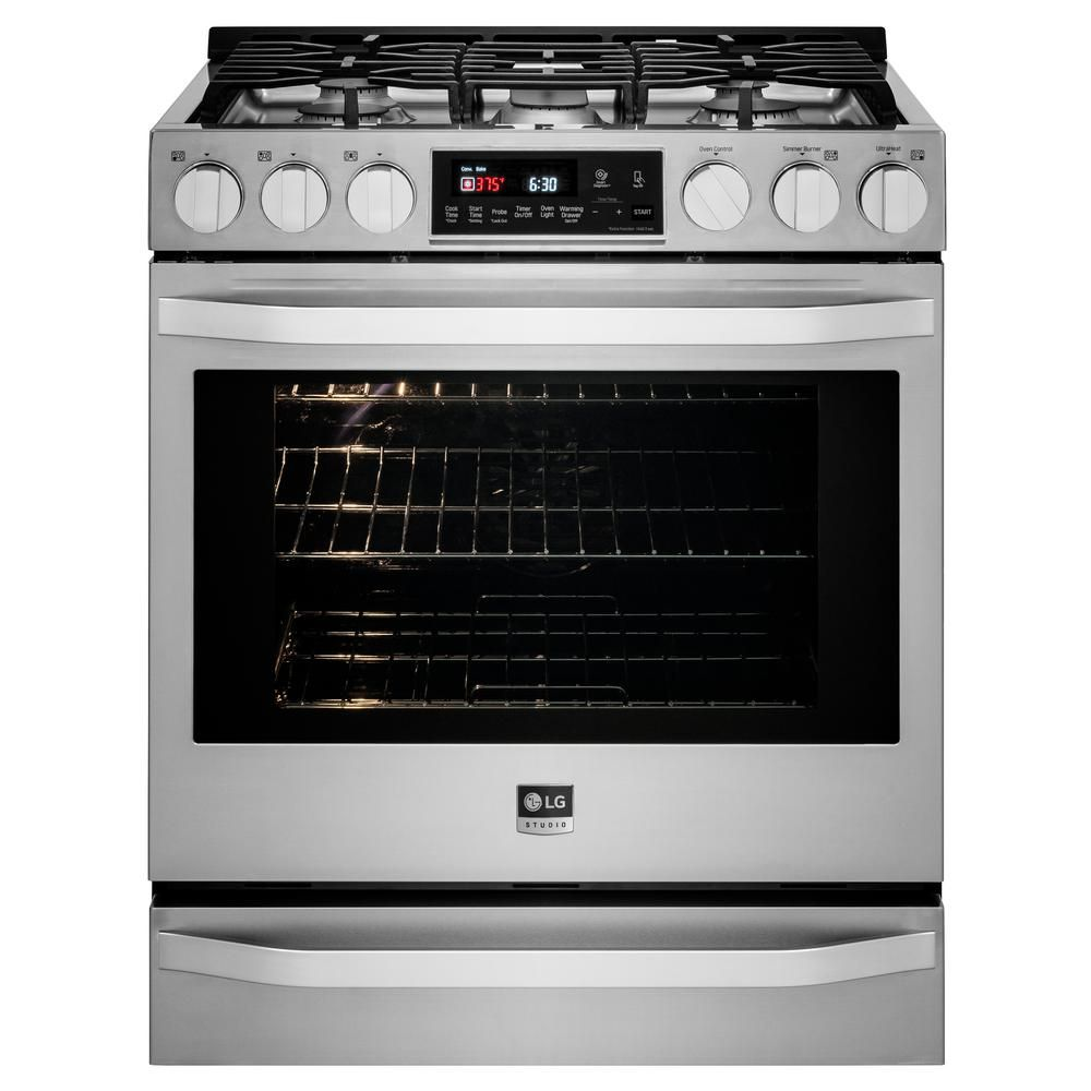 Gas Range With Warming Drawer In Stainless Steel