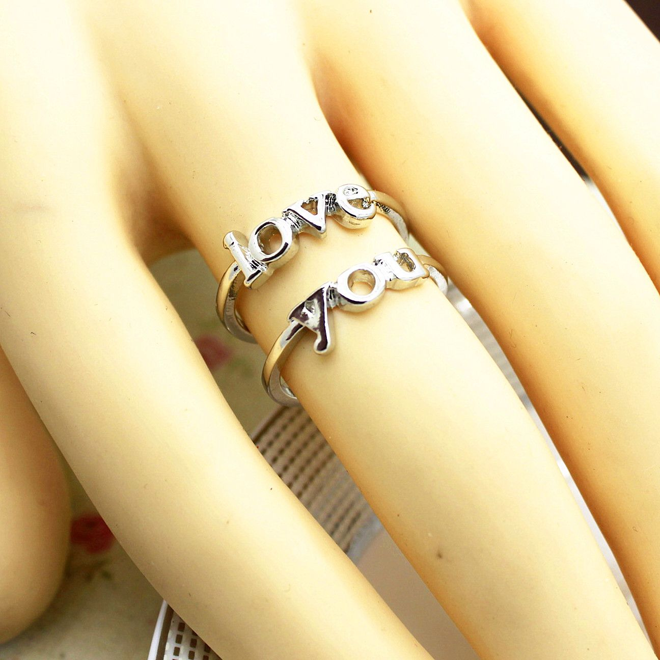 Double ringsilver love you couple rings shop at costwe big