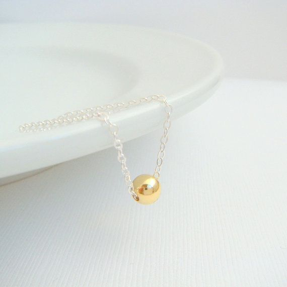 silver and gold necklace. 14k 14 k yellow gold filled bead. mixed metals. round small dainty. sterling chain. delicate everyday jewelry 6 mm...