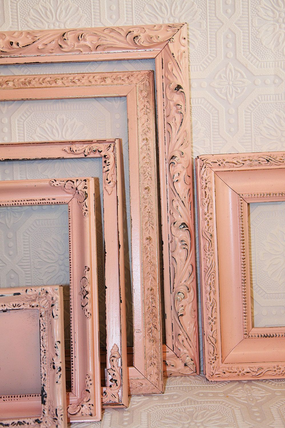 Shabby Chic Vintage Soft Pink Hand Painted Distressed Frame Set