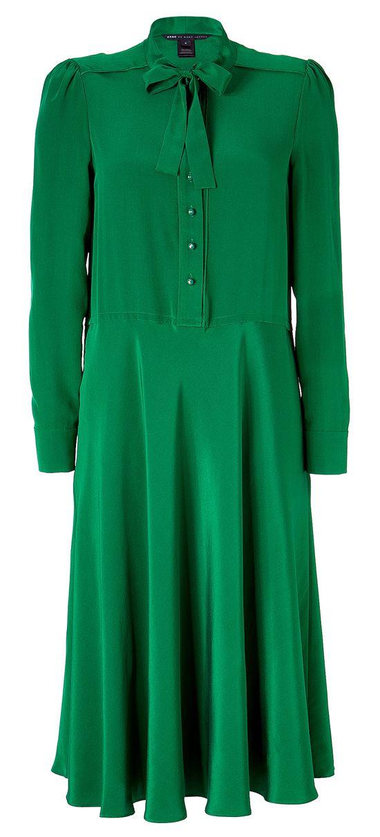Michaela Dragon Green Tie Neck Silk Dress by Marc Jacobs.