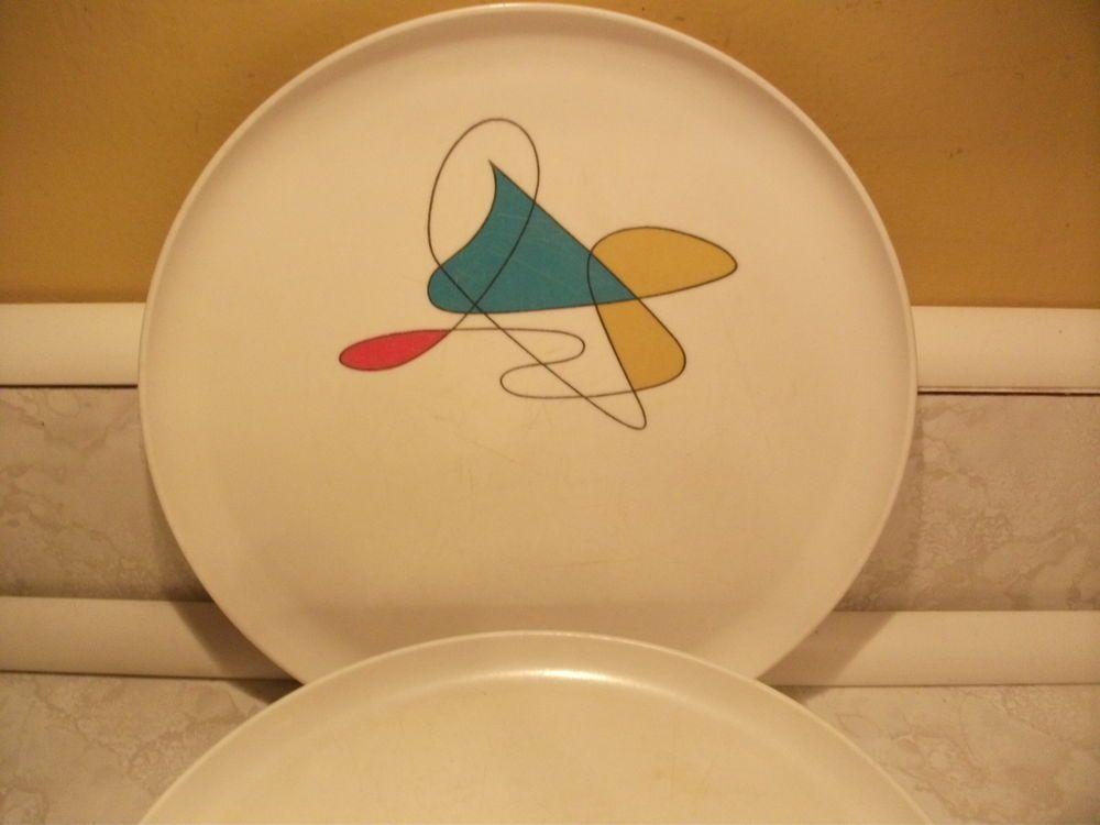 Vintage 7 Poppytrail Dinner Plates Mid-Century Modern Atomic Melmac Melamine & Vintage 7 Poppytrail Dinner Plates Mid-Century Modern Atomic Melmac ...