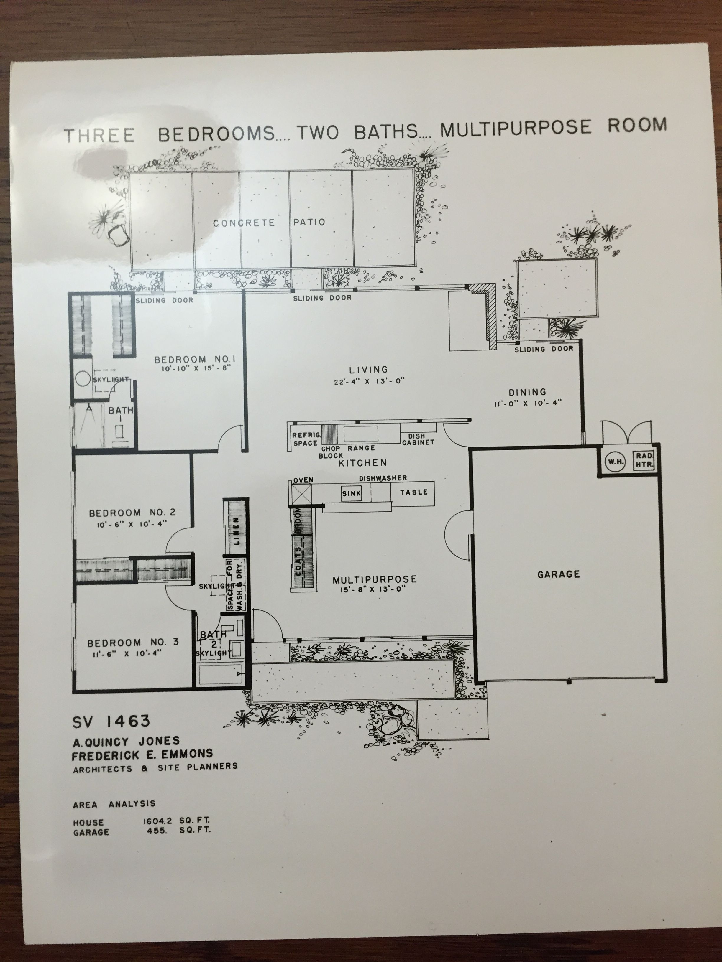 Eichler Homes floor plan SV 1463 (Original at UCLA Library Special  Collection, A. Quincy Jones Papers)