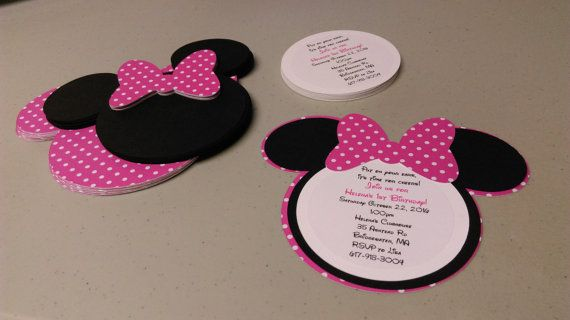 DIY Minnie Mouse Invitations In Bold Pink And White Polka