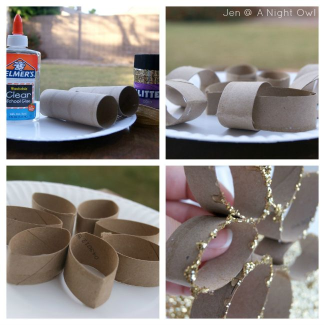 DIY Toilet Paper Roll Glitter Snowflake Ornament Tutorial at @A Night Owl Blog