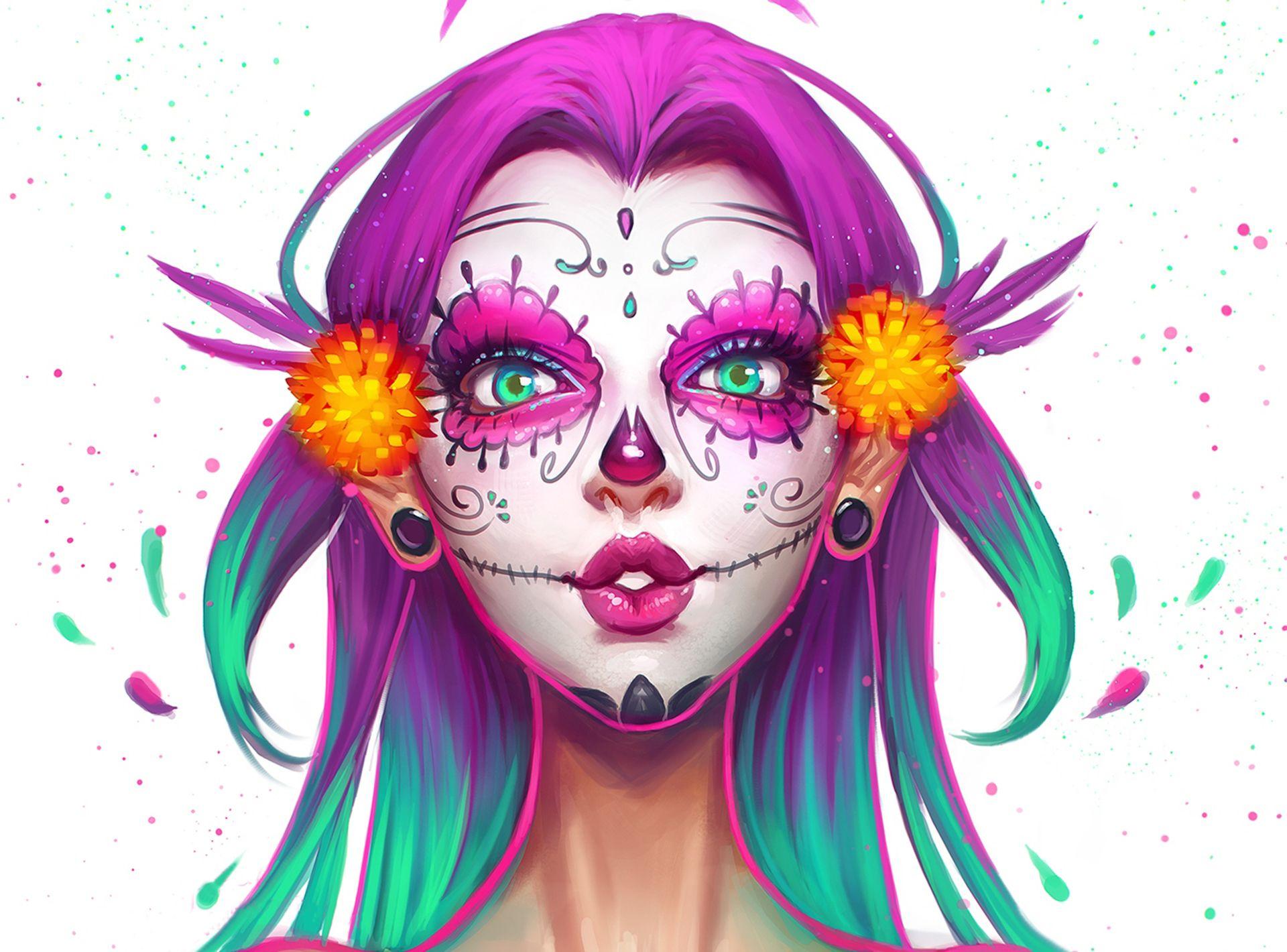 beauty girl face make up skull painting wallpaper desktop