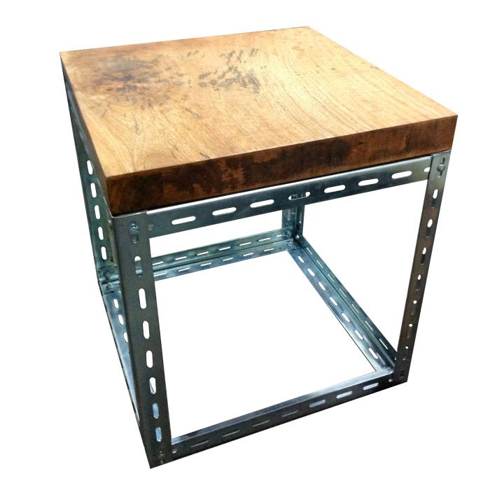 Industrial Side Table Slotted Angle Base With Chunky Reclaimed