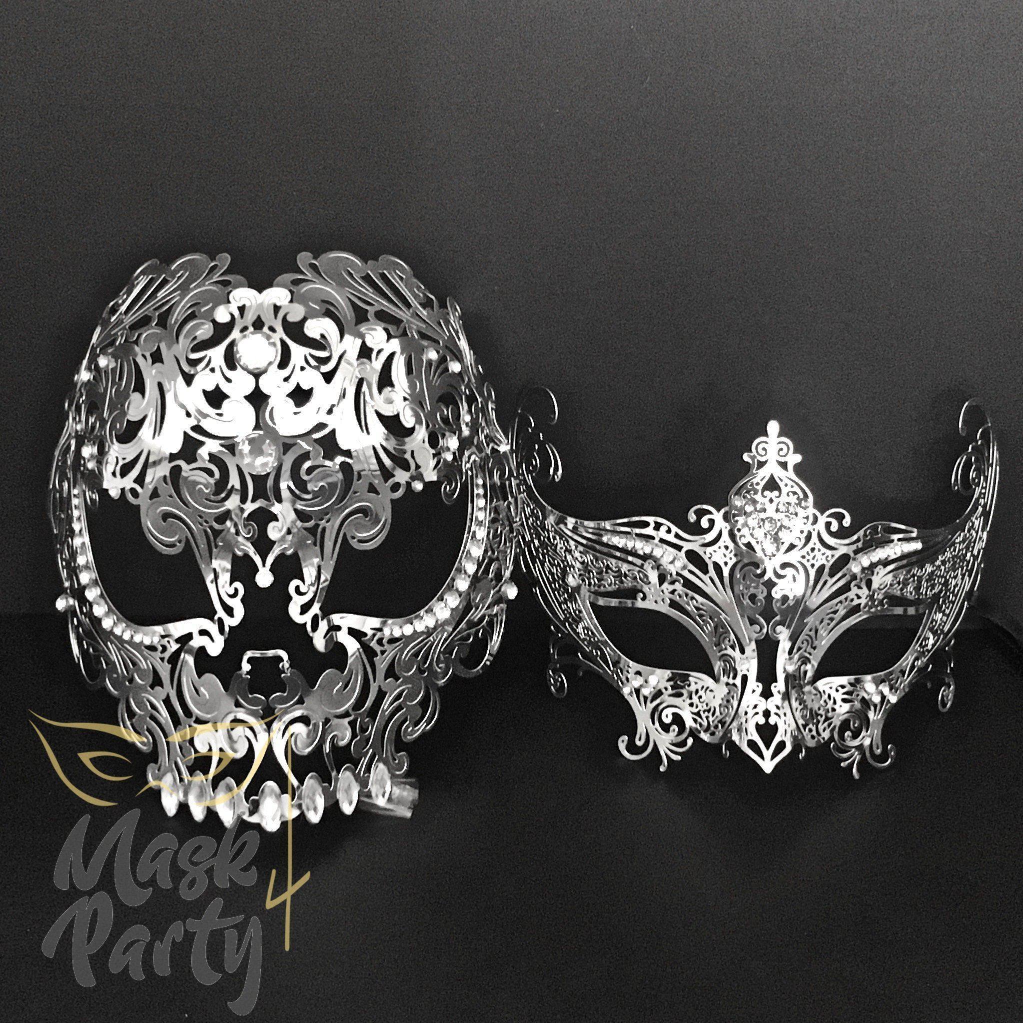 Vampire Queen Silver Metal Venetian Masquerade Mask with Clear Rhinestones