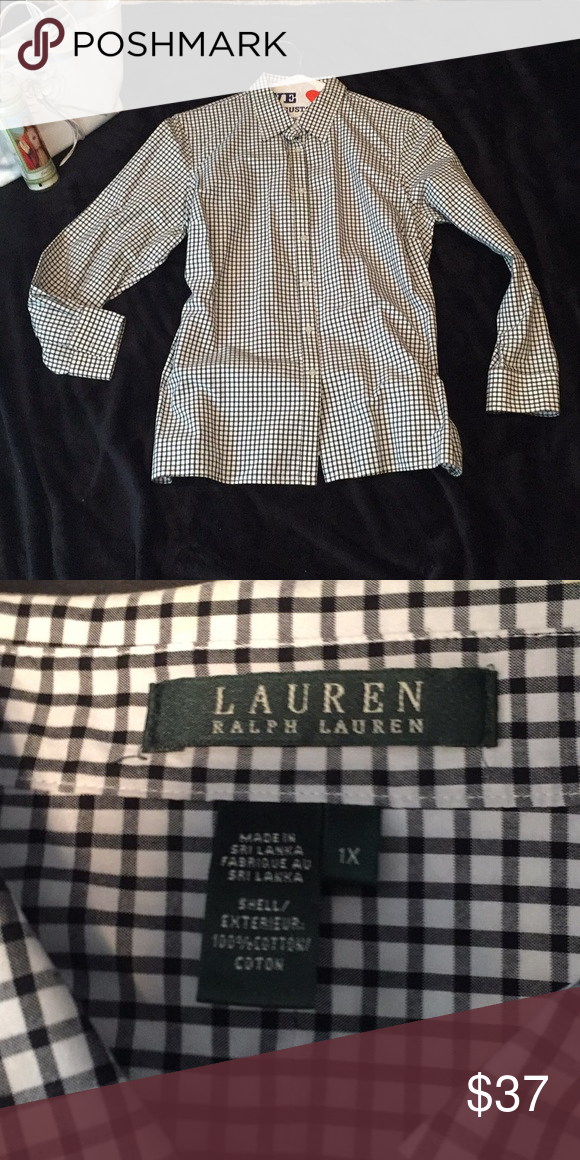 609e018048b506 Snazzy black and white graphic Ralph Lauren shirt Black and white graphics  square pattern button down from Ralph Lauren 💯cotton blouse Lauren Ralph  Lauren ...