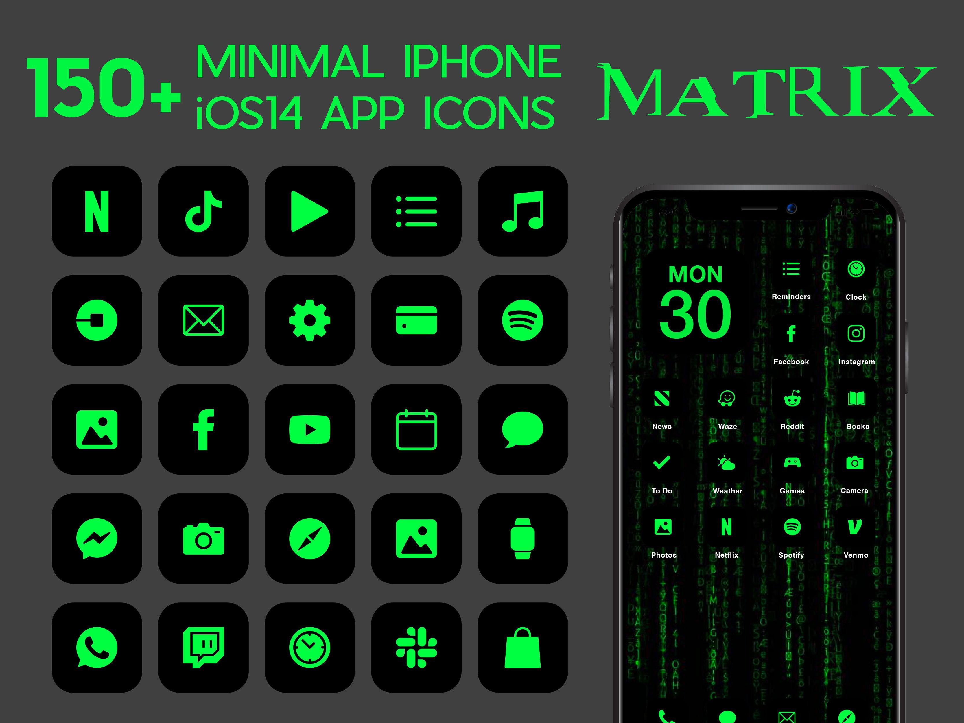 Ios Matrix App Icons 230 Black Green Neon Minimal Ios 14 Etsy In 2021 App Icon Homescreen Ios Icon