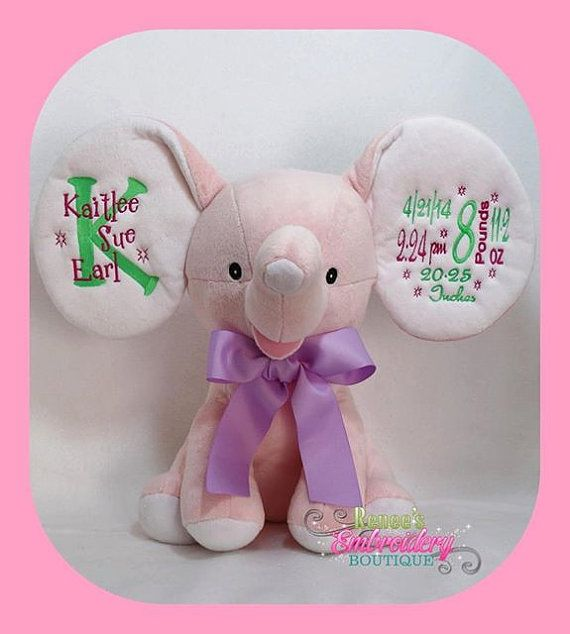 Personalized dumble elephant new born baby gift keepsake custom personalized dumble elephant new born baby gift keepsake custom embroidery stuffed animal baby cubbies negle Gallery