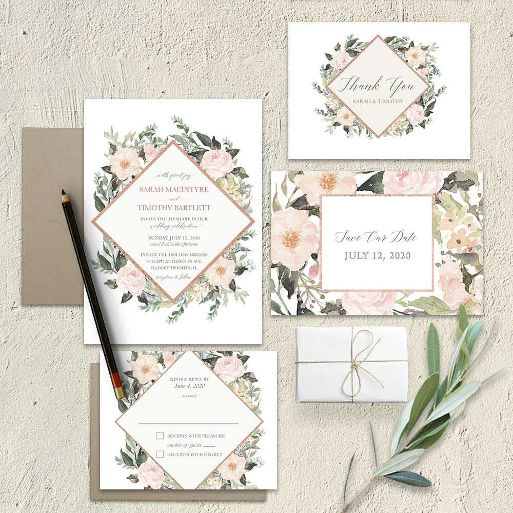 3f71671c00da Rose Gold Geometric Save the Date Cards Blush Coral Floral. This absolutely  beautiful floral themed geometric wedding invite features modern watercolor  ...