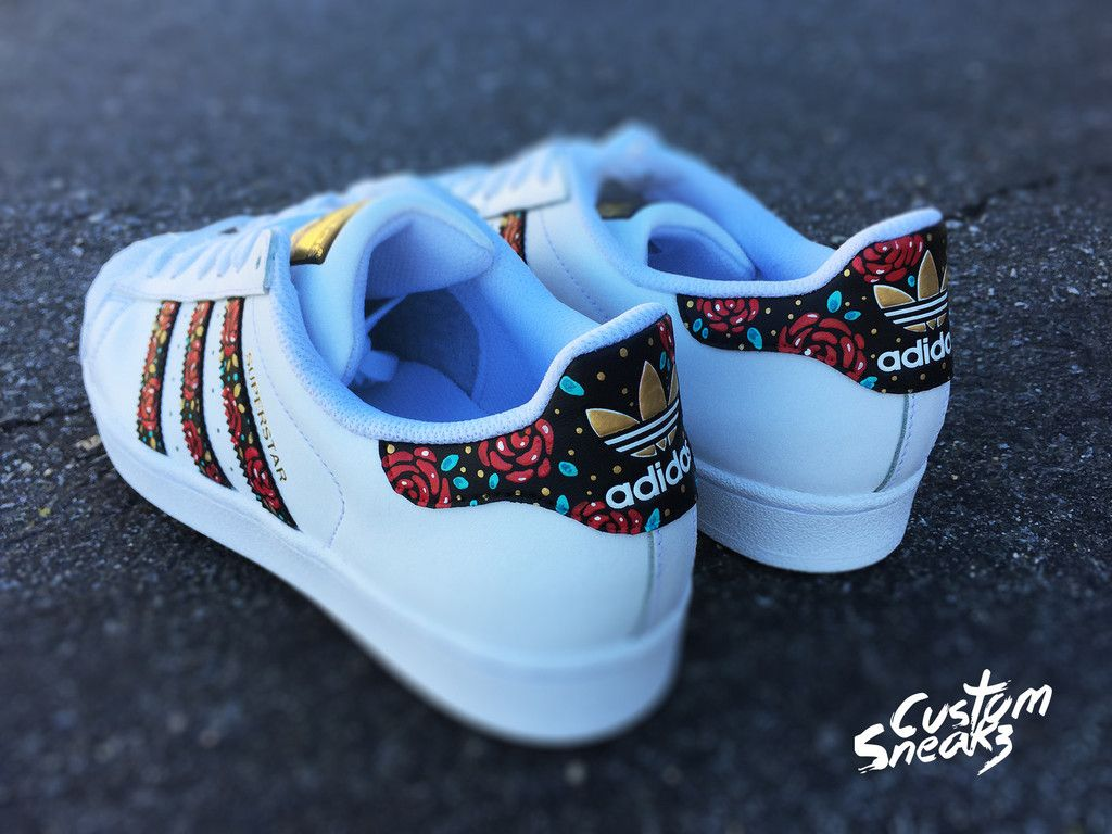 Custom Adidas Superstar for men and women, Adidas custom Hand Painted  floral design, Unisex