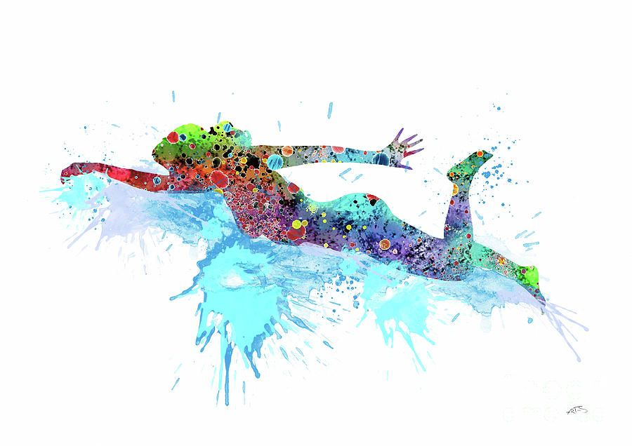 Girl Swimming Watercolor Print Swimming Art Swimming Poster Sports