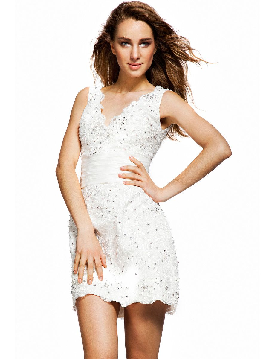 V-neck Jeweled Lace Little White Dress | Reception or Rehearsal ...