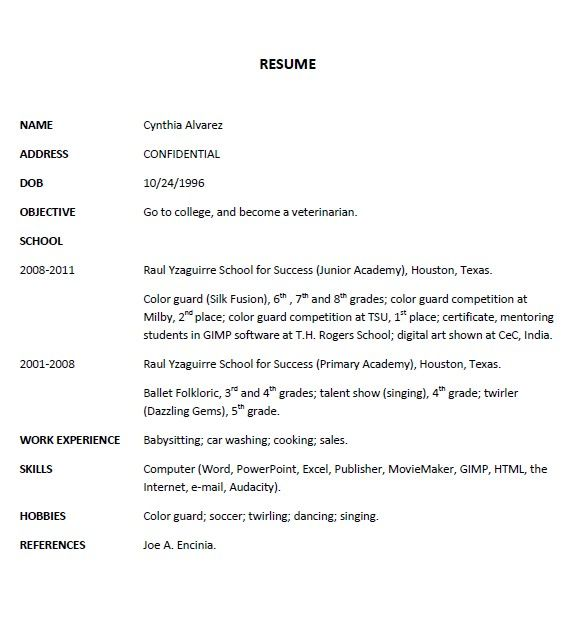 Example Resume 3 - Cynthia Alvarez | Resumes for RYSS 2 | Pinterest ...