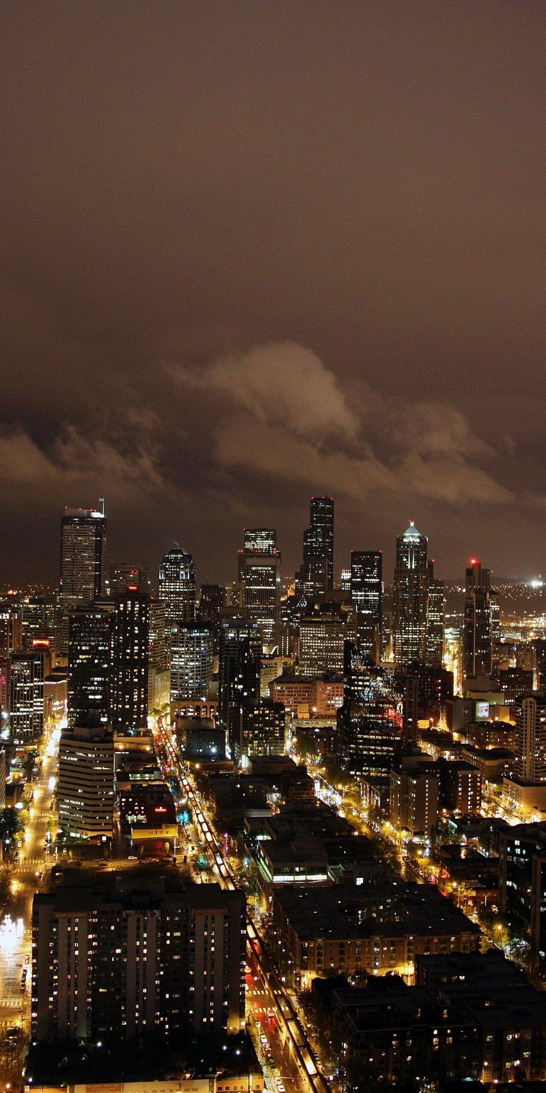 Night, city, buildings, skyscrapers, dark, 1080x21