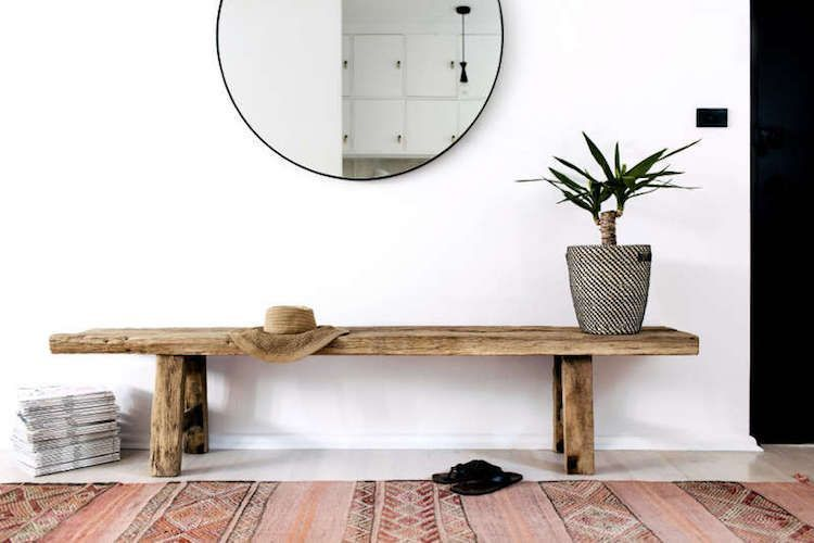 My Scandinavian Home Bench And Round Mirror In The Hallway Of A Sleek And Rustic In A Sydney Bachelor Pad Lu Decor Decor Interior Design Family Room Makeover