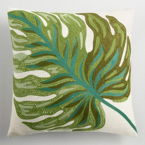 One of my favorite discoveries at WorldMarket.com: Palm Leaf Embroidered Indoor Outdoor Throw Pillow