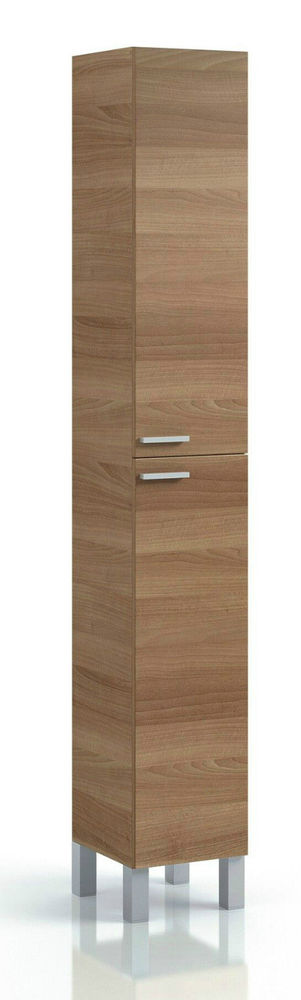 Tall Bathroom Cabinet Office Furniture Walnut Narrow Unit Cupboard Storage  Door