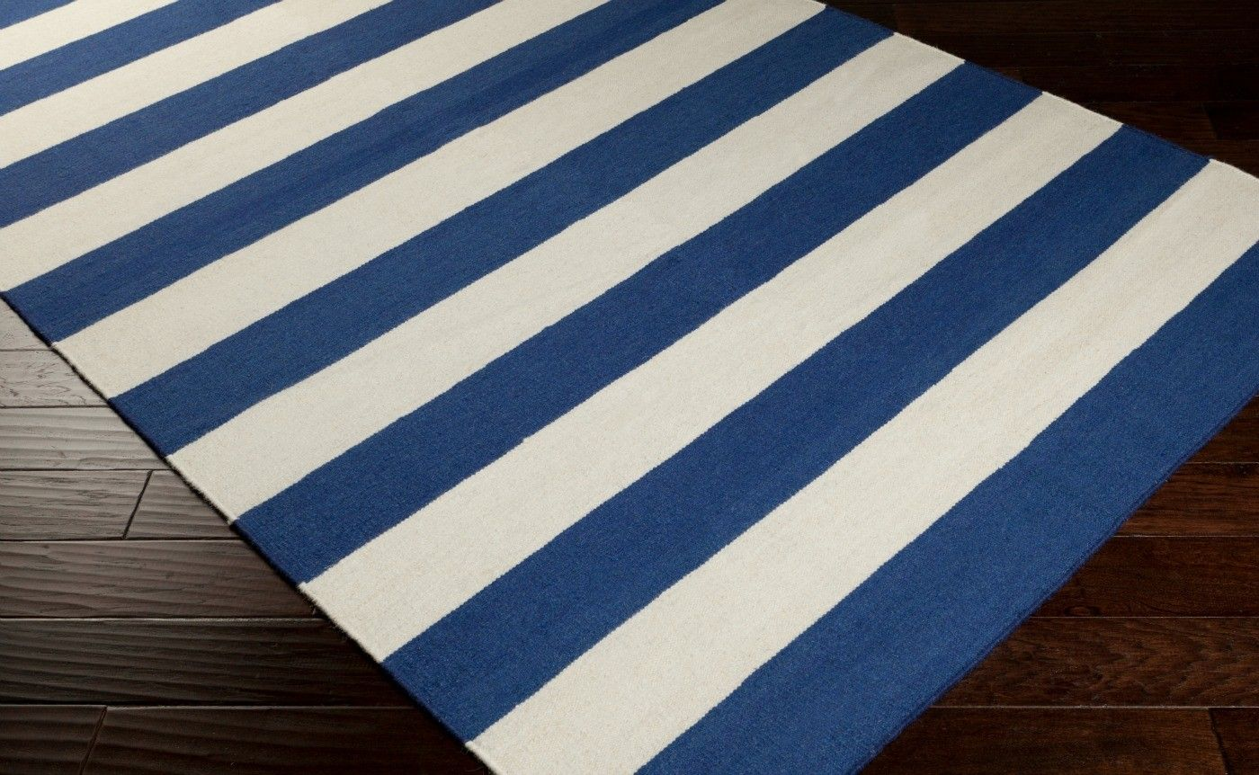 Cobalt Blue And White Beach Striped Area Rug Wool Area