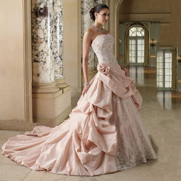 Elegant Romantic Pink Wedding Gowns: Elegant Wedding Dress In Pink With Ruffled Fabric And