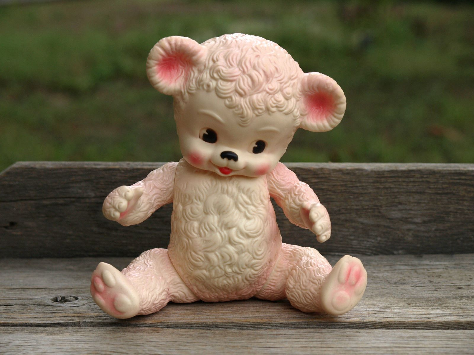 Vintage Sun Rubber Teddy Bear Squeaky Baby Toy Pink White
