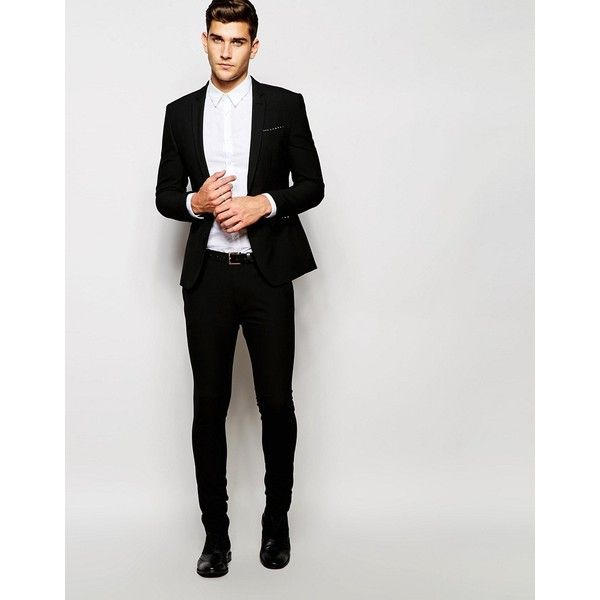 235f0501b2b5 ASOS Super Skinny Fit Suit Jacket In Black ($96) ❤ liked on ...