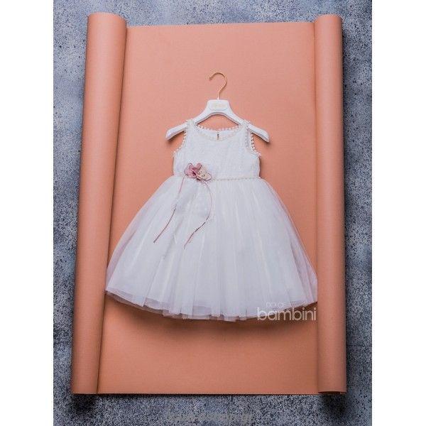 5ee0573dded9 Οικονομικό φορεματάκι βαπτιστικό Dolce Bambini με εκρού τρέσα και λουλούδια  στον μπούστο