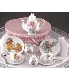 This porcelain tea set features a beautiful collection of Cicely Mary Barker's Flower Fairies®. Each piece is hand-finished in 24k gold and-like all Reutter tea services-is food and dishwasher safe.