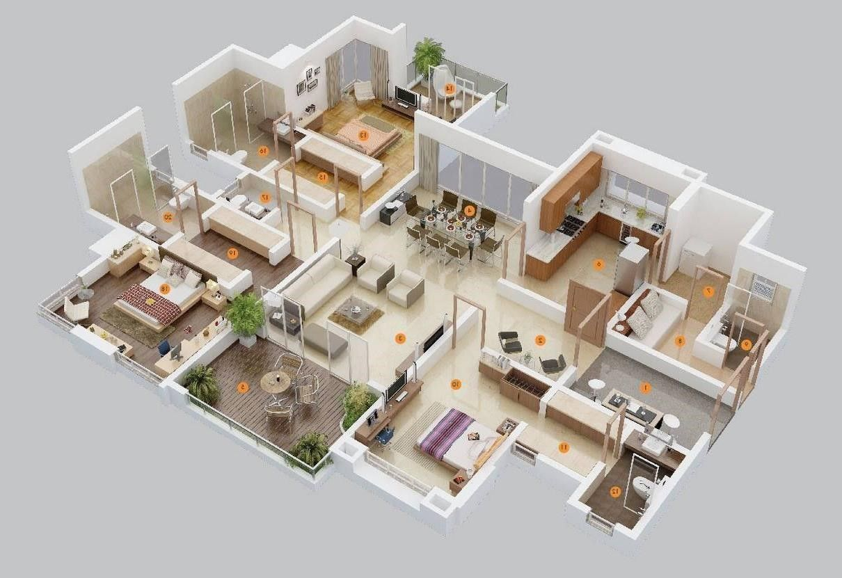 Simple House Floor Plans One Story 3d Departamentos Grandes 4d In