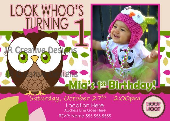 owl invitation Look Whoos Turning one invitation - OWL Theme - invitation for 1st birthday party girl