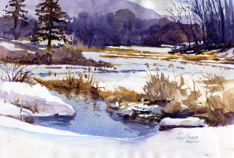 Winter Pond Archival Limited Edition Glicee Art Print Watercolor Landscape Paintings Winter Landscape Painting Winter Painting