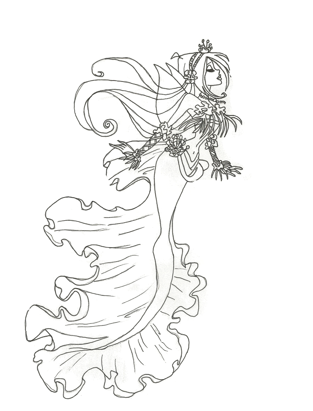 winx club mermaid flora coloring page by
