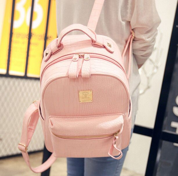 Womens Double College Backpack Strap Pu Leather Bags Travel Sweet 29YDWIHE