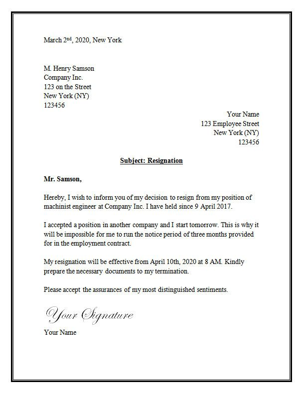 Resignation Letter Template Word Resignation letter – Sample Resignation Letters with Notice Period
